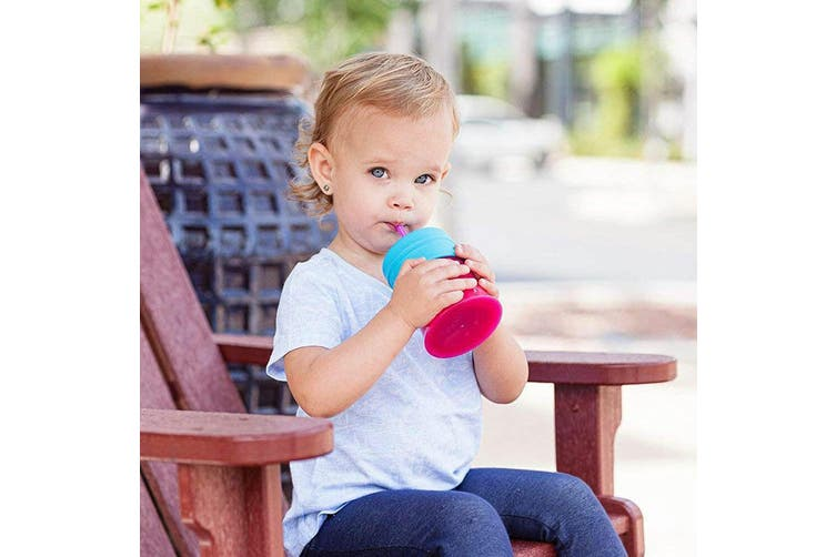 6pc Boon Snug Straw Baby/Girl/12m+/Infant Universal Cup Cover/Lid Pink/Blue/PP