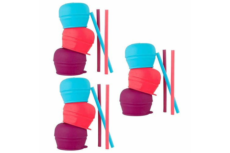9pc Boon Snug Straw Baby/Girl/12m+/Infant Universal Cup Cover/Lid Pink/Blue/PP