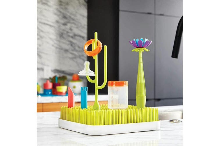3PK Boon Forb Soap Dispensing Silicone Flower Baby Bottle Cleaning Brush Green