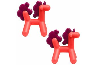 2PK Boon Prance Silicone Teether Baby/Newborn Teething Toy Unicorn 0m+ Pink/PP