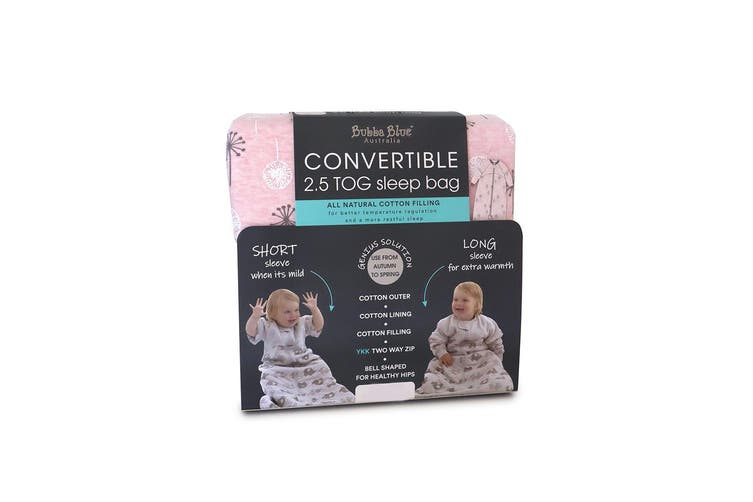 Bubba Blue Convertible Cotton 2.5 TOG 3-12m Baby Sleeping Bag Pink Dandelion