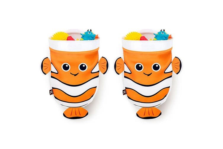 2PK BenBat Scoop & Store Bath Basket Fish Baby 0m+ Toys Scooper Organizer OR/WHT