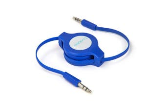 Buddee 3.5mm Retractable Male Aux Audio 1m Cable Car Stereo Auxiliary Cord Blue