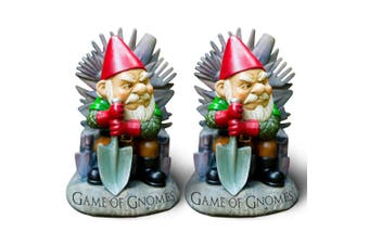 2x BigMouth 23.3cm Game Of Gnomes Garden/Yard Gnome Statue Lawn Decoration/Decor