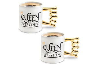 2PK BigMouth The Queen Of Everything Drinkware Tea/Coffee Ceramic Mug Drink WHT