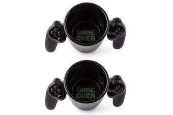 2PK BigMouth Game Over Controller Drinkware Tea/Coffee Ceramic Mug Hot Drink BLK