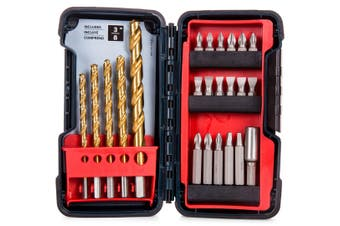 23pc Bosch Titanium Drill & Drive Bits House/Work Tool Set/Kit w/ Case/Holder
