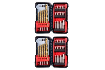 2x 23pc Bosch Titanium Drill & Drive Bits House/Work Tool Set/Kit w/ Case/Holder