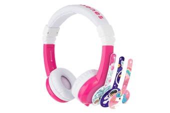 Buddyphones Explore Kids Safe Foldable Headphones Headset 3.5mm w/Mic Pink