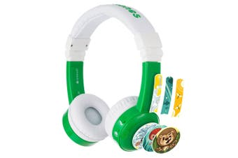 Buddyphones InFlight Safe Kids Headphones Headset w/Mic/Airplane Adapter Green