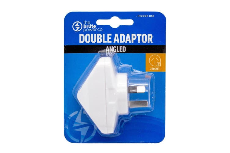 The Brute Power Co Double Adaptor Indoor Home Adapter Plug/Socket Angled White
