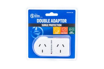 The Brute Power Co Flat Right Double Plug Surge Protector Indoor Socket Adaptor