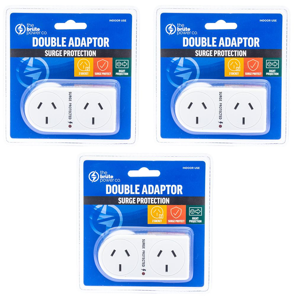 3PK The Brute Power Co Double Adaptor Indoor Home Adapter Plug//Socket Angled WHT