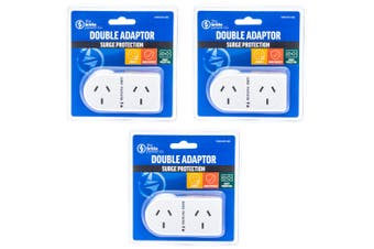 3PK The Brute Power Co Flat Right Double Plug Surge Protector Socket Adaptor