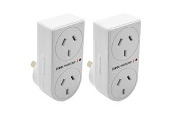 2x The Brute Power Co Double Plug Surge Protector Adaptor for Indoor Home Socket