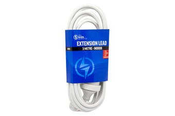 The Brute Power Co 3m Extension Lead/Cord Cable AU/NZ 24000W 240V Home Plug WHT