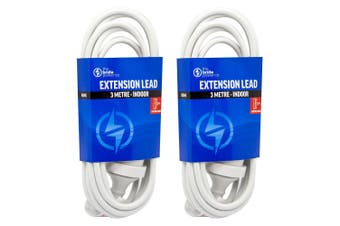 2PK The Brute Power Co 3m Extension Lead/Cord Cable AU/NZ 24000W 240V Plug White