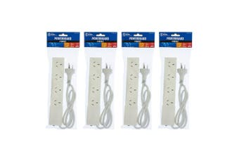 4PK The Brute Power Co 4 Socket 1m Cord/Cable Powerboard 10A Outlet/Strip Switch