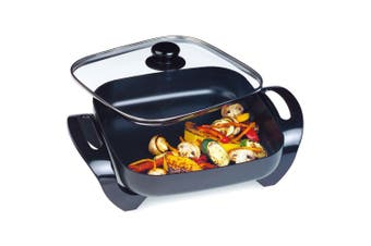 Maxim 29cm Electric Square Frypan/Cooker Non-Stick Coated Thermostat Control