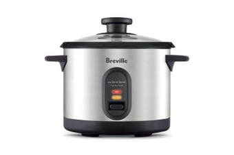 Breville BRC310BSS 500W Set & Serve 7 Cups Rice Cooker/Steamer Stainless Steel