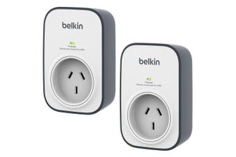 2PK Belkin 240V 1 Outlet Wall Mounted Surge Protector Power Board Grey/White