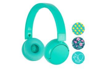 Buddyphones POP Wired/Wireless Bluetooth Children Kids Headphones Mic Turquoise