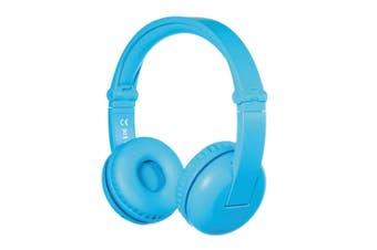 BuddyPhones Play Children Bluetooth Headphones w/Stickers/Audio Splitter Glacier