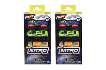 2x 3pc NERF Nitro Foam Car Vehicle Kids/Children 5y+ Play Toys Assorted Colour