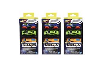 3x 3pc NERF Nitro Foam Car Vehicle Kids/Children 5y+ Play Toys Assorted Colour