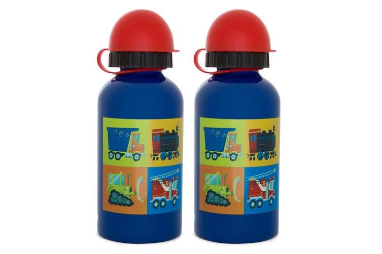 2PK Crocodile Creek Vehicles 400ml Drink Bottle/Kids Child 3y+ Water Blue