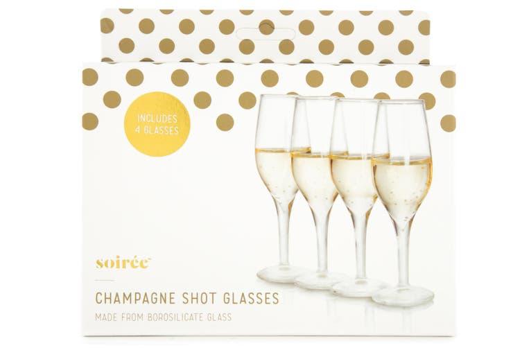 4PK Thumbs Up 35ml Mini Champagne Glass Sparkling Wine Degustation/Spirit Shot
