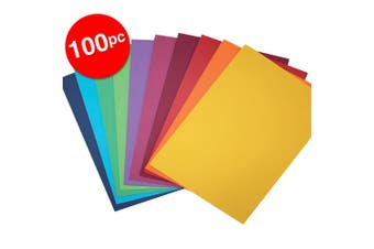 100pc ColourfulDays A4 Colour Board 200gsm Paper Craft School Sheets Assorted
