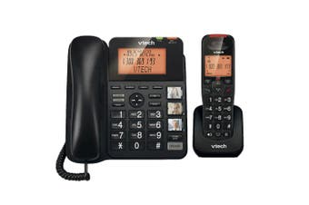 Vtech Dect6.0 Corded/Cordless Home Phone Combo w/ NBN Ready/Volume Booster Black