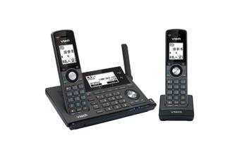 Vtech 2 Handset Long Range Dect360 Cordless/Wireless Phone w/ MobileConnect BLK