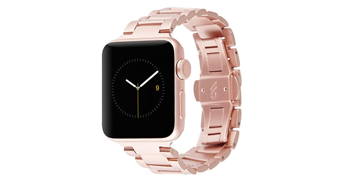 Dick Smith Case Mate 42 44mm Rose Gold Metal Linked Apple Watch Band For Series 5 4 3 2 1 Jewellery