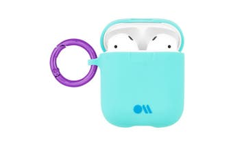 Case-Mate Hookups Case/Cover for Apple AirPods with Ring Clip/Neck Strap Aqua