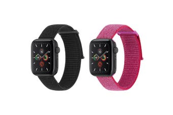 Case-Mate Nylon Sport Watch Strap Band for 38-40mm Apple Watch Black & Pink Set