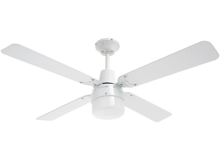 Heller Cohen 1200mm White/Cherry Wood Ceiling Fan/Clipper Light/4 Blades/3 Speed