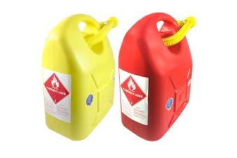 2x 20L Fuel Container/Petrol/Fuel/Diesel/Kerosene Storage Heavy Duty Yellow/Red