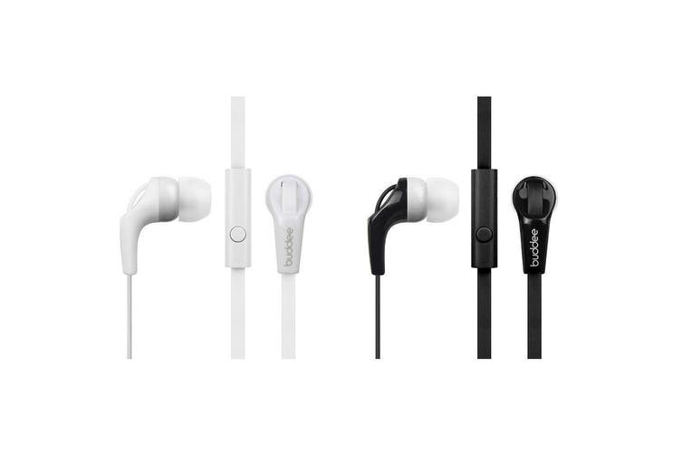 2PK Buddee Earphones Plus Remote/Mic Headset for Android/iPhone Black/White