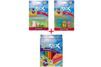 Artline Stix 10pk Drawing Pens/Markers Draw/Build/Play Kids w/Animals/Monsters