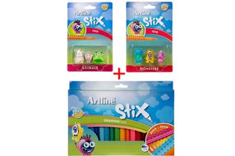 Artline Stix 20pk Drawing Pens/Markers Draw/Build/Play Kids w/Animals/Monsters