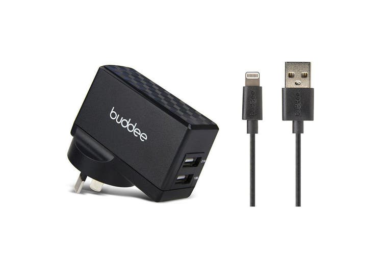 Buddee 3.1A Dual Port USB Wall Charger w 1m Lightning Cable for iPhone 7 8 X BLK
