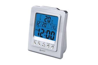 Sansai LCD Alarm Clock Time LCD Digital Display/Snooze Home/Bedroom Decor Silver