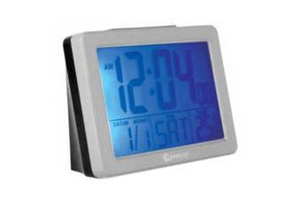 Sansai Alarm Clock LCD Blue Backlight Calendar Date/Temperature Display Silver