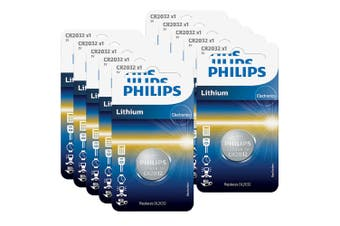 10x Philips Button Cell 3V Lithium Alkaline Coin CR2032 Battery f/ Small Devices
