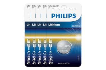 5PK Philips Button Cell 3V Lithium Alkaline Coin CR2032 Battery f/ Small Devices
