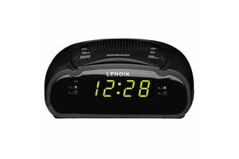 Lenoxx AM/FM Station Radio Digital LED Dual Alarm Clock Sounds Snooze/Sleep BLK