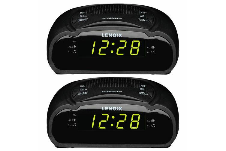 2PK Lenoxx AM/FM Station Radio Digital LED Dual Alarm Clock Sounds Snooze/Sleep