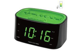 FM Radio LED Display Dual Alarm Clock/USB Charger Port for Smartphones Charging